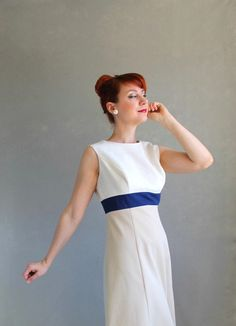 New! A Lovely Spring Color Block Office Dress  Sale 1960s Dress Color Block Dress Khaki White Navy by gogovintage, $52.00