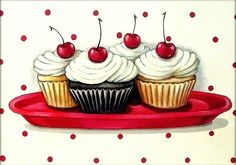 Image of vintage bakery inspired cherry topped cupcakes matted print
