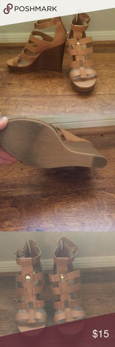"Dolce Vita Tan Wedges Only worn once!!! Great condition, tan wedges. Goes with every bring! 3.5-4"" heel size 9! Dolce Vita Shoes Wedges"