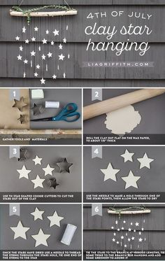 Make This Simple DIY Wall Decor: Hanging Clay Stars in Just 6 Steps! Make This Simple DIY Wall Decor: Hanging Clay Stars in Just 6 Steps!,Craft Tutorials Only Shooting Stars… Upgrade your outside art. Diy Clay, Clay Crafts, Diy And Crafts, Crafts For Kids, Summer Crafts, Kids Diy, Clay Christmas Decorations, Christmas Crafts, Wall Decorations