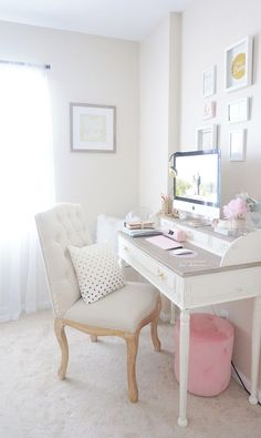 Pink feminine home office decorating idea    #officespace #homeoffice   http://www.cleanerscambridge.com/