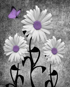 Negro blanco violeta Margarita Flores por LittlePiePhotoArt en Etsy