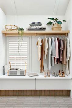open shelves in bedroom wardrobe