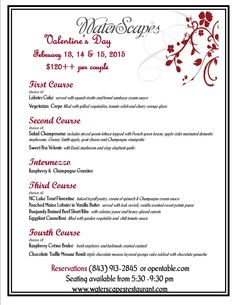 Enjoy a 5 course romantic Valentines menu for two at WaterScapes Restaurant at Marina Inn in Myrtle Beach, SC