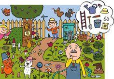 illustration by Anja Boretzki (Benni Magazine) Speech Language Therapy, Speech And Language, Toddler Preschool, Preschool Crafts, Abc Activities, Hidden Objects, Hidden Pictures, Creative Play, Happy Colors