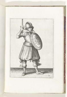 Adam van Breen | De exercitie met schild en spies: de soldaat presenteert zijn rapier met de hand niet hoger dan zijn gezicht (nr. 19), 1618, Adam van Breen, Anonymous, Aert Meuris, 1616 - 1618 | De exercitie met schild en spies: de soldaat presenteert zijn rapier met de hand niet hoger dan zijn gezicht, 1618. Onderdeel van de illustraties in: Adam van Breen, De Nassausche Wapen-Handelinge, 1618, plaat nr. 19. Krijgswezen rond 1600.