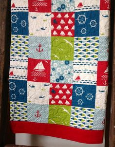 Baby Quilt Nautical Organic Modern Birch Fabric Set by CoolSpool