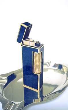 Dunhill Lighter Lapis Blue and 18 K Gold by STUNNINGCOLLECTIBLES