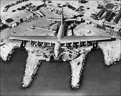 "The Hughes H-4 Hercules (aka the ""Spruce Goose"") before being launched, Long Beach California, 1947"