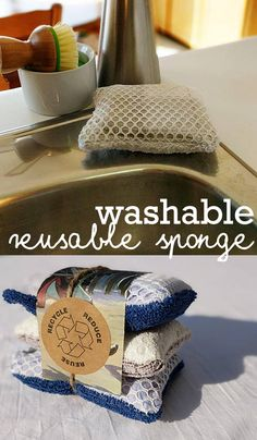 "Save money and the environment with ""un"" sponges, washable and reusable sponges are a great addition to your zero waste lifestyle. Reuseable sponges made using upcycled materials, flannel and terry cloth. #cleaningtips #cleaninghacks #naturalcleaning #Ad"