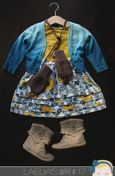 Laelia Outfit 17, via Visual Vocabulary. Lucky Brand, Target, Janie and Jack, Ouef, iWalk.