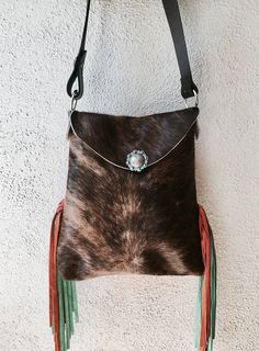 New * Hank & Henrietta XL Henry Style Brindle Brown Hair on Hide and orange leather bag with turquoise green and orange fringe sides.