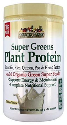 Country Farms Super Greens Plant Protein Supplement, Vanilla, 11.8 Ounce *** To view further for this item, visit the image link.