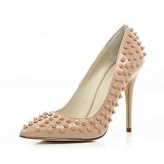 """Pocket Friendly version of Christian Louboutin Pigalle Spikes from River Island the """"Studded point court shoes"""" £65.00"""