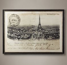 Vintage French Postcard Large - Tour Eiffel Et Ferris | Restoration Hardware
