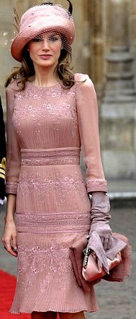 Princess Letizia of Asturias (Spain) in a Pablo & Mayaya design at the wedding of Prince William and Kate Middleton, April 19, 2011