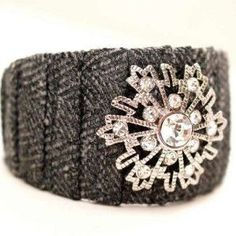 IStunning Snowflake Cuff - material scraps and old brooch