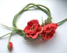 Handmade flowers necklace Purple flowers felt necklace