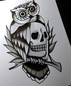 #coruja  #caveira #skull By Lucas Nascimento #owl  #oldschool  #flashtattoo  #owltattoo  #skulltattoo