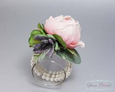 Pink Peony Wrist Corsage. Succulent. Real Touch Wedding Bridal