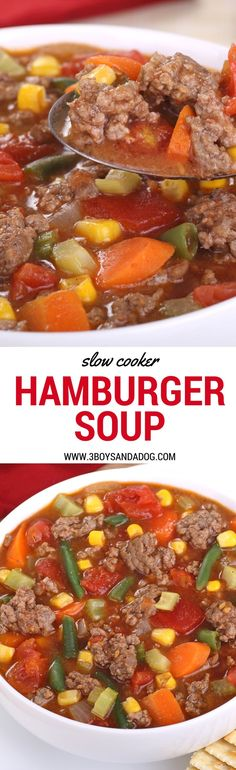 This Hamburger Soup in the Slow Cooker is true Southern Comfort Food favorite that only takes about 15 minute to prepare for 8 hours of crockpot cooking! #slowcooker #recipeoftheday #crockpotrecipes
