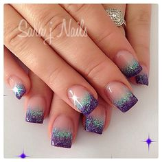 Gradient colored acrylics. Glittered turquoise and purple acrylics #nailart