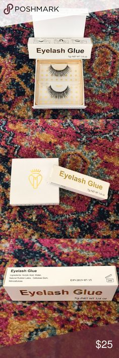 Silk Lashes + Eyelash Glue NWT Battington Lashes Monroe 3D Silk Lashes + Eyelash Glue.  These lashes are 100% silk, handmade, cruelty free and a best seller on Revolve.  They can be reused up to 25 times! Revolve Makeup False Eyelashes