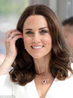 Kate showed off new jewellery in the form of a ruby and diamond pendant