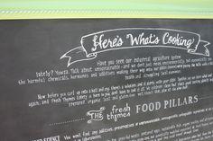probably the most words I've ever fit on a chalkboard. restaurant food philosophy in a vintage frame