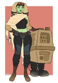 "Eena ""Atlas"" Ty, our party's mechanic, with her murderous GNK droid. Ffg Star Wars, Star Wars Rpg, Star Wars Humor, Star Wars Concept Art, Star Wars Fan Art, Character Concept, Character Art, Character Ideas, Star Wars Species"