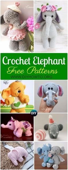 Crochet Elephant Softies and More Free Patterns Tutorials: Amigurumi Elephant Toys, Kids, Baby Booties, Hair Tie, Snuggles and More via @diyhowto