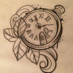 60 New Ideas Tattoo Compass Drawing Pocket Watches Baby Tattoos, Time Tattoos, New Tattoos, Sleeve Tattoos, Time Piece Tattoo, Large Tattoos, Compass Drawing, Compass Tattoo, Clock Tattoo Design