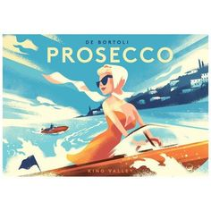 Danish Modern Alcohol Poster, Prosecco ($125) ❤ liked on Polyvore featuring home, home decor, wall art, posters, cartoon illustration, comic book posters, vineyard wall art, cartoon posters and illustrated posters
