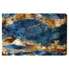 Bring eye-catching style to your den or master suite with this lovely framed canvas print, featuring a blue and gold abstract motif.