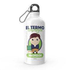 Termo - El termo del mejor profesor, encuentra este producto en nuestra tienda online y personalízalo con un nombre. Water Bottle, Drinks, Social, Priest, Carton Box, Store, Crates, Musica, Working Man