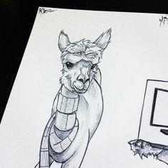 Mornin'. #inktober #illustration #sketch #alpaca #pen #biro #ink