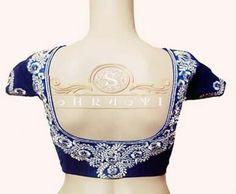 Blue embriodered designer blouse