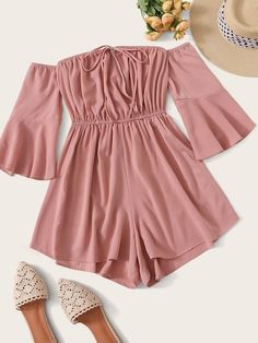 Shop Solid Tie Front Off Shoulder Playsuit at ROMWE, discover more fashion styles online. Teenage Girl Outfits, Girls Fashion Clothes, Teen Fashion Outfits, Teenager Outfits, Cute Fashion, Outfits For Teens, Fashion Styles, Preteen Fashion, Teens Clothes