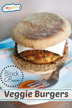 These homemade black bean burgers are veggie filled and delicious! They can also be made with white beans for a vegetarian high protein patty!