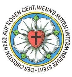 The Meaning Behind Luther's Rose,  Des Christen Herz auf Rosen geht, wenn's mitten unterm Kreuze steht.