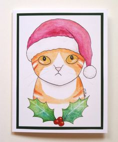 871629f3b197a Funny Christmas Card Grumpy Orange Tabby Cat Wearing Santa Hat illustration  Cute Funny Cat Holiday cards