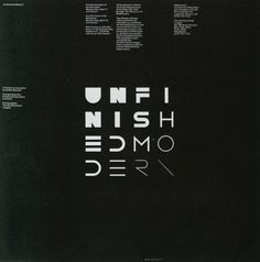 agi-open-london:  Vignelli Associates (Massimo Vignelli & Michael Bierut) — Unfinished Modern (1984)