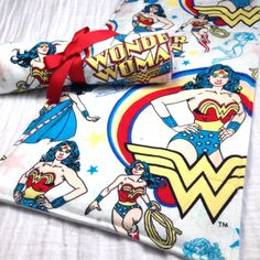 Baby Burp Cloths - Baby Shower Gift Set of Two - Wonder Woman