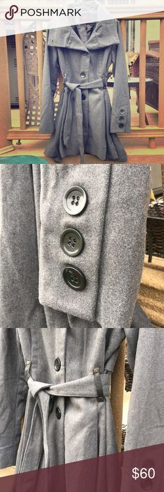 Yoki New York Outwear collection coat NWOT. Gray in color! Super cute for winter time. Has black buttons and a tie around the waist for fitting. Jackets & Coats