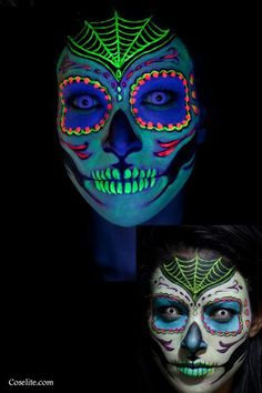 The Halloween Edit: Best (+Easy) Makeup Ideas To Try This Halloween | UrbanMuses #sugarskull Black light reactive makeup