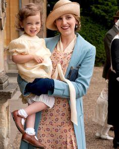 Laura Carmichael as Lady Edith Crawley in 'Downton Abbey' with Marigold