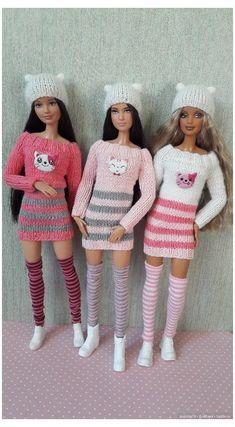 Super Crochet Doll Dress Barbie Patterns 38 Ideas #crochet #clothes #dresses #crochetclothesdresses Sewing Barbie Clothes, Knitting Dolls Clothes, Barbie Clothes Patterns, Doll Dress Patterns, Crochet Doll Clothes, Dress Clothes, Knitting Toys, Doily Patterns, Doll Dresses