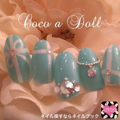 ネイル 画像 Beauty salon Coco a Doll 津新町 1354485 青 ブランド柄 リボン ブライダル デート パーティー 春 冬 ハンド ロング ミディアム ショート