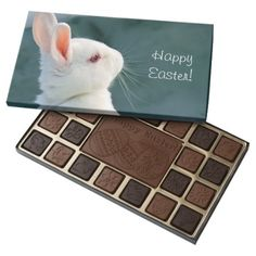 Easter Bunny 45 Piece Assorted Chocolate Box Cute white rabbit in snow with the text: Happy Easter! #rabbit #white #cute #animal #cute #pet #cute #rabbit #bunny #easter #happy #easter #easter #rabbit #easter #bunny #white #rabbit #snow #standing #winter #easter #bunny #in #snow #easter #rabbit #in #snow...