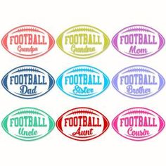 Football Family Names Pack with Grandpa, Grandma, Mom, Dad, Sister, Brother, Uncle, Aunt and Cousin Cuttable Design Cut File. Vector, Clipart, Digital Scrapbooking Download, Available in JPEG, PDF, EPS, DXF and SVG. Works with Cricut, Design Space, Sure Cuts A Lot, Make the Cut!, Inkscape, CorelDraw, Adobe Illustrator, Silhouette Cameo, Brother ScanNCut and other compatible software.